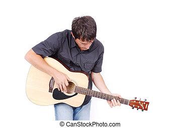 A man holding guitar