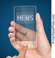 A man holding modern transparent mobile smart phone with news on screen. Closeup shot