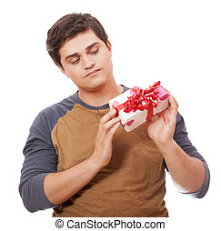 A man holding present box on white background.