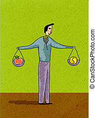 A man holding two scales, weighing money and an apple