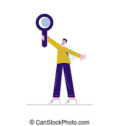 A man holds a magnifying glass in his hand Flat vector illustration isolated on white background