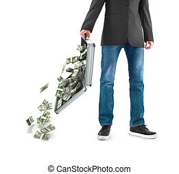 a man holds a suitcase with dollars