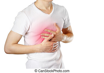 A man holds the Breasts. The pain in his chest. Heartburn. Stomach hurts. Sore point highlighted in red. Closeup. Isolated on white