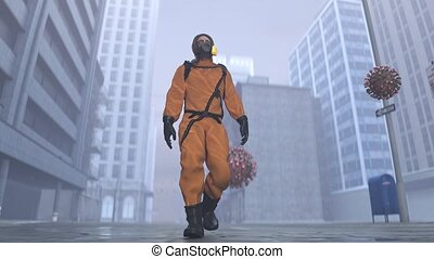 A man in a biohazard suit walks around the city with a flying coronavirus