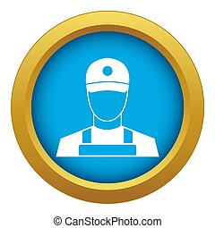 A man in a cap and uniform icon blue isolated