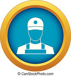 A man in a cap and uniform icon blue vector isolated