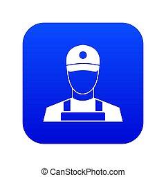 A man in a cap and uniform icon digital blue