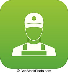 A man in a cap and uniform icon digital green