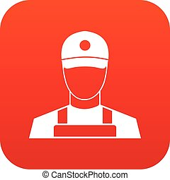 A man in a cap and uniform icon digital red