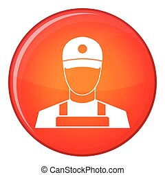 A man in a cap and uniform icon, flat style