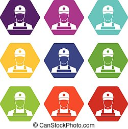A man in a cap and uniform icon set color hexahedron