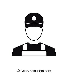 A man in a cap and uniform icon, simple style