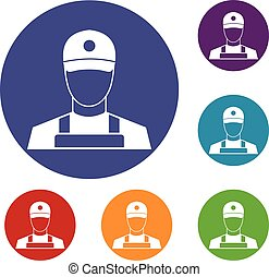 A man in a cap and uniform icons set
