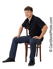 a man in a chair on a white background