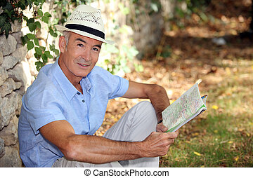 A man in a garden