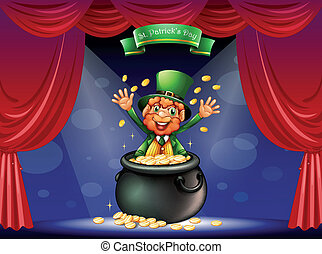 Illustration of a man in a pot at the center of the stage