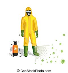 man in a protective suit disinfects