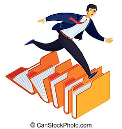 a man in a suit runs through open folders, in a hurry, looking, isolated object on a white background,