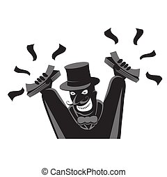 A man in a top hat with his hands up holds money on a white isolated background. Vector image
