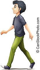 A man in grey shirt walking