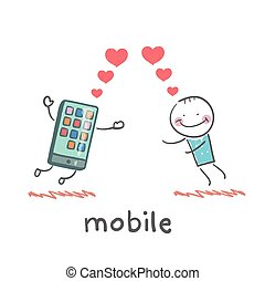 a man in love with mobile