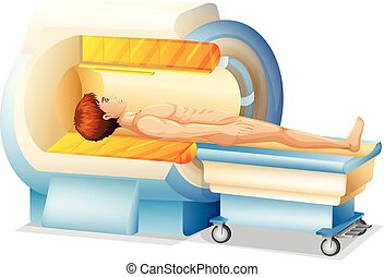 A Man in MRI Scanner