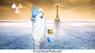 man in protective gear warns of the nuclear zone - a man in ...