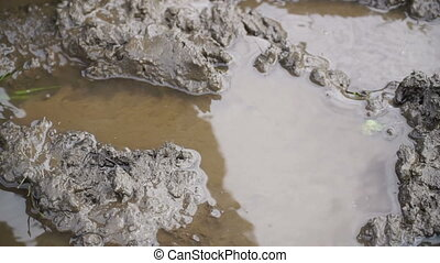 a man in rubber boots walking on the mud. HD video