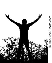 A man in silhouette standing in nature