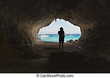 A man in the big cave