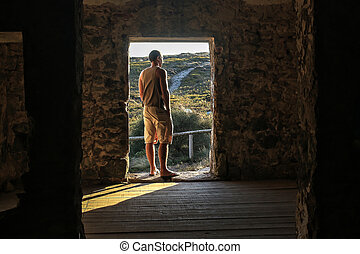 A man in the Interior of the Sanctuary of Peninha, Sintra