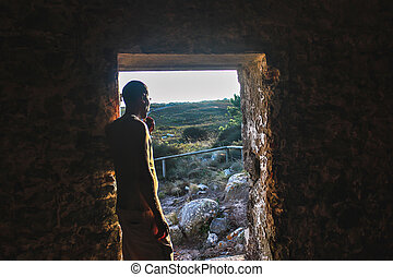 A man in the Interior of the Sanctuary of Peninha