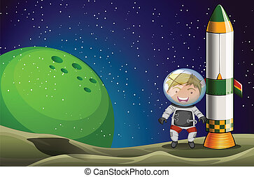 A man in the space standing beside the rocket