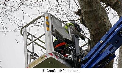 A man in uniform inside a crane is cutting a branch