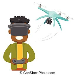 A man in virtual reality hradset controlling a drone