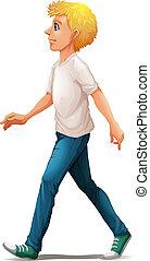 A man in white shirt walking