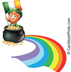A man inside a pot of gold coins holding flag