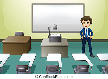 A man inside the conference room - Illustration of a man...