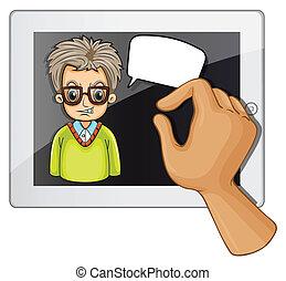 A man inside the gadget with a rectangular callout
