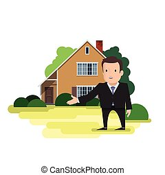 A man is a real estate agent standing in front of the house