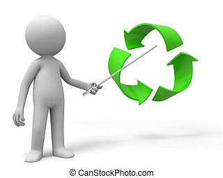 recycling symbol - A man is explaining the recycling symbol