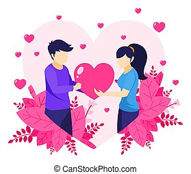 A man is expressing love by giving a heart symbol to a woman. Valentine Day Celebration. Man and Woman in Relations illustration