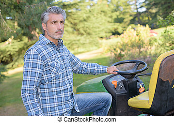 a man is next to mower
