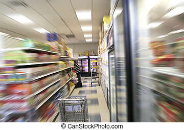 A Man Is Shopping - A man is shopping in a grocery store