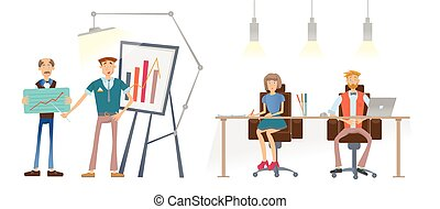 A Man is showing a financial graph. A man and a woman at the table look and listen to the speaker. Business presentation in the office of the company. Vector illustration.
