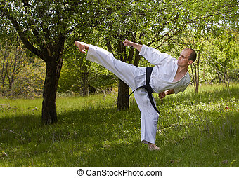 A man is training a kick in the park