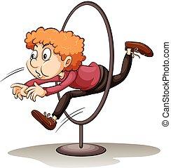 A man jumping through a hoop