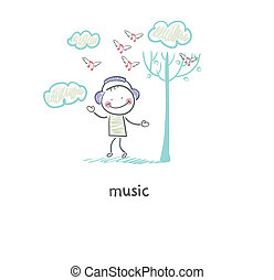 A man listens to music. Illustration.