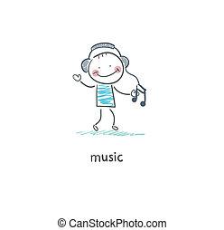 A man listens to music