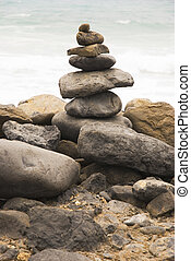 A man made stack of pebbles